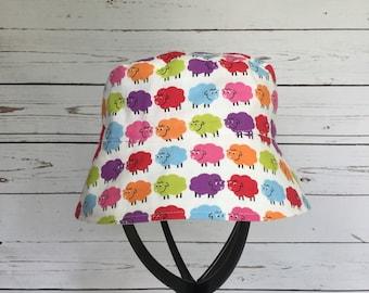 5e1ed930 Kids Summer Hat, BaaBaa Bright Sheep, Sun Hat with Chin Strap, Bright Sun  Hat, Infant Bucket Hat, Beach Wear, Vacation Sun Gear, Baby Hat