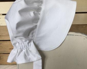 White Bonnet, White Pioneer Bonnet, Baby Bonnet, Gardening Bonnet, Sun Hat, Easter Bonnet, Christening Bonnet, Adult Bonnet, Bonnet Bebe