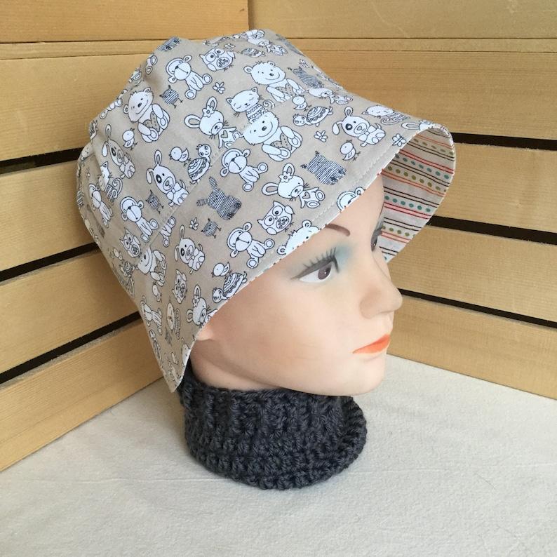 Reversible Sun Hat Child Sun Hat Toddler Bucket Hat Chin Strap Sun Hat Newborn Sun Hat Infant SunHat Animal Hat Monkey Toddler Hat