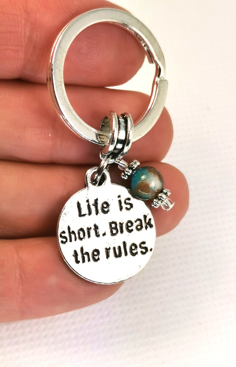 Key155 Rebel Key Ring with Mashan Jade Bead Life Is Short Break The Rules Keychain Funny Key Chain Tag for Rebellious People