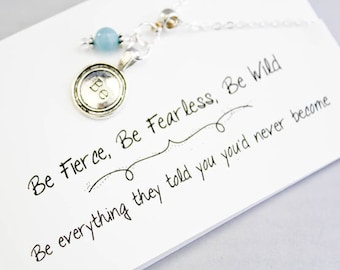 Necklaces for Women - Be Charm Necklace - Fearless Necklace - Dainty Genuine Blue Quartz ladies Necklace SCC881