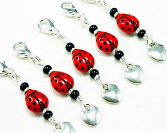 Sale Clearance  - Ladybug Charm. Red Beaded Ladybug Party Favour Charm. Silver Heart Charm. BSC033