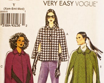 Vogue sewing pattern for cape in 3 lengths - Vogue 8959 - up to bust 36 - sizes XS S & M - UNCUT