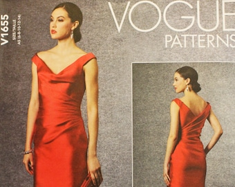 Designer Lorcan Mullany for Bellville Sassoon sewing pattern for special occasion dress - Vogue 1655 - sizes 6 to 14 - bust 30.5 to 36 UNCUT