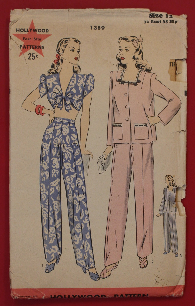 f5093ba8ee Hollywood 1389 Vintage Sewing Pattern for Chic Crop Top with