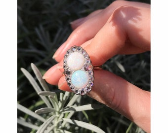 Antique Victorian Engagement Ring with Rose Cut Diamonds and Cabochon Opals, 1890s - FREE Resizing*