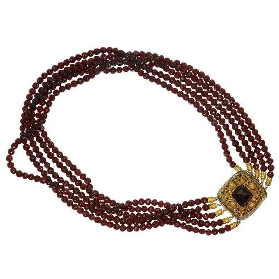 Antique garnet necklace with gold lock