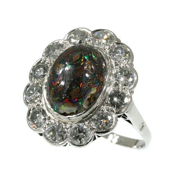 Items Similar To Opal Ring Exquisite Braided Opal: Items Similar To Black Opal Ring Vintage Engagement Ring