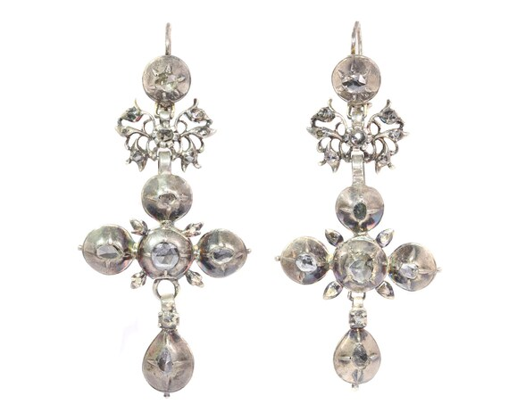 Cross earrings, dangle earrings, diamond earrings,
