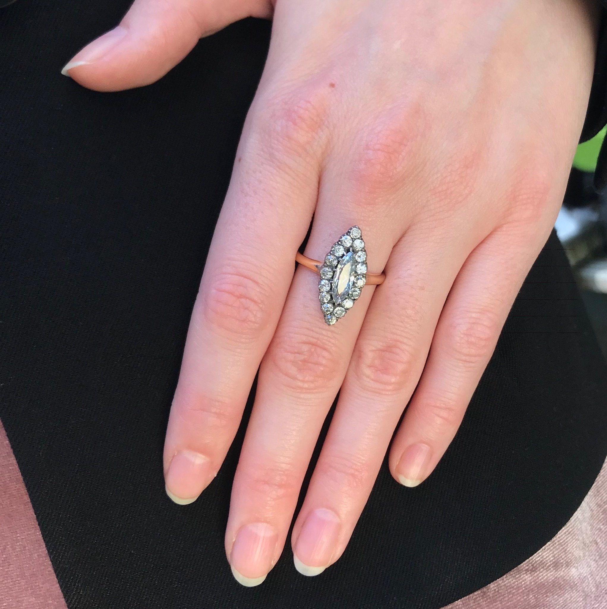 Antique marquise ring 14k yellow gold old European cut   Etsy