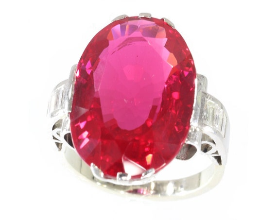 Ruby Ring, Large oval ruby diamond ring platinum 1