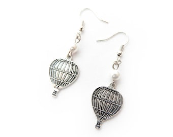 Antique Silver Hot Air Balloon Earrings, Earrings, Silver Dirigible Earrings, Steampunk Hot Air Balloon Earrings, Silver Balloon Earrings