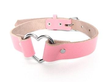 Pink Heart Ring Choker, Pink Heart Choker, Pink Heart Ring Collar, Pink Leather Heart Collar, Pink Love Slave Collar, Pink Kitten Collar