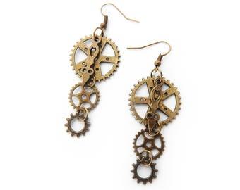 Antique Bronze Gear Earrings, Steampunk Earrings, Clockwork Earrings, Steampunk Gift, Steampunk Gear Earrings, Engineer Gift, Brass Gears