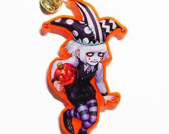 """2.5"""" Halloween Pumpkin Acrylic Charm, Halloween Acrylic Charm, UV Halloween Charm, UV Pumpkin Charm, Creepy Cute Keyring, Halloween Keychain"""