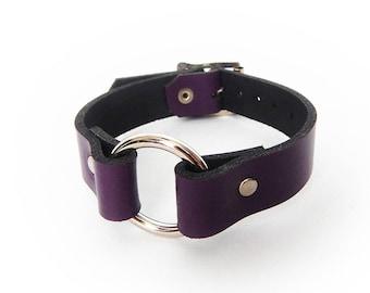 purple leather flower cuffhandmade leather cuffflower braceletpainted leather braceletwomans braceletgirl braceletleather jewelryC232