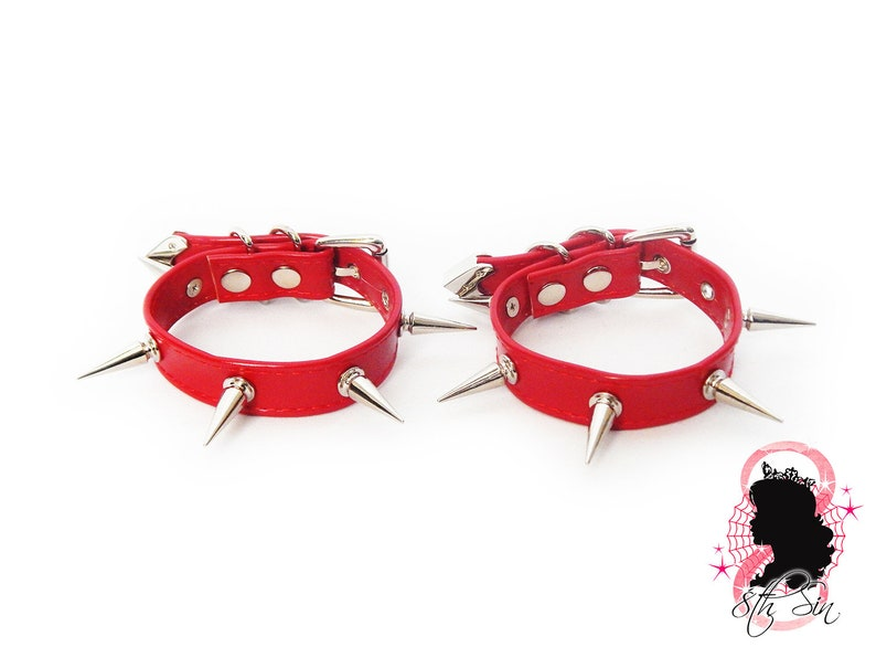 Red BDSM Ankle Cuff Red Faux Leather Ankle Cuffs Red Spike Stud Ankle Cuffs Red Faux Leather Studded Ankle Cuffs Red Studded Ankle Cuffs
