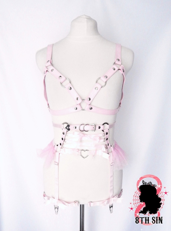 Pink Faux Leather Cage and Corset Body Harness Set, Pink Cage Harness Set, Pink Corset Lacing Harness Set, Pink Tulle Harness Set