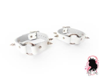 White Studded O Ring Ankle Cuffs, White O Ring Ankle Cuffs, White Studded Leather O Ring Ankle Cuffs, White Studded O Ring Ankle Cuffs