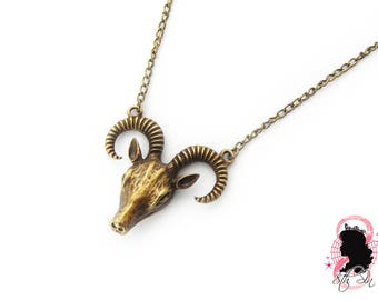 Antique Bronze Ram Skull Necklace, Bronze Ram Necklace, Bronze Sheep Skull Necklace, Bronze Sheep Necklace, Gothic Ram Skull Necklace