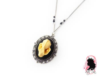 "2"" Antique Silver Bat Skull Necklace, Silver Bat Skull Cameo Necklace, Black Bat Necklace, Black Bat Skull Necklace, Vampire Bat Necklace"