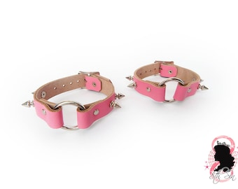 Pink Studded O Ring Ankle Cuffs, Pink O Ring Ankle Cuffs, Pink Studded Leather O Ring Ankle Cuffs, Pink Studded O Ring Ankle Cuffs