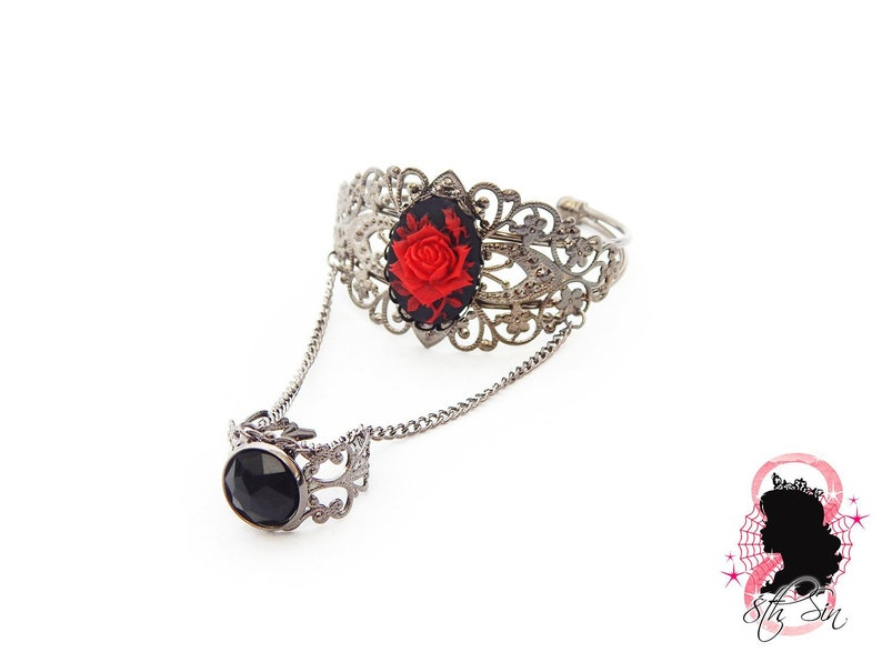 4c9643a1b4f84e Gunmetal Black and Red Rose Bangle and Ring Black Rose Cameo | Etsy