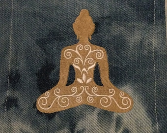 Meditation SOULE PATCH - Buddhism Embroidered hand bleached Denim Pocket patch 6 X 8
