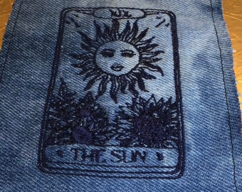The SUN Tarot SOULE PATCH art bleached denim patch 3.5 X 5.5 black embroidered Sunflowers