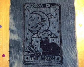 The MOON Tarot SOULE PATCH art bleached denim patch 5 X 7 black embroidered Cat