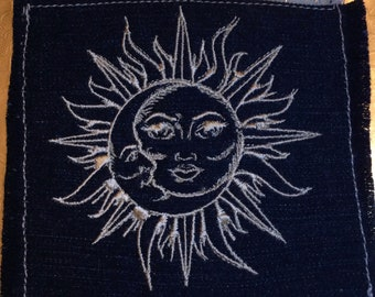 Sun & Moon SOULE PATCH art Indigo Denim Celestial patch 4.5 X 4.5