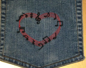 MUSICAL Notes Heart HOT POCKET art Indigo Denim Music Notes patch - Large 7 X 7