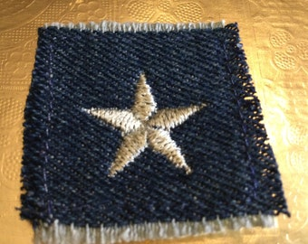 Little Silver STAR SOULE PATCH denim patch 1.5 X 1.5 embroidered