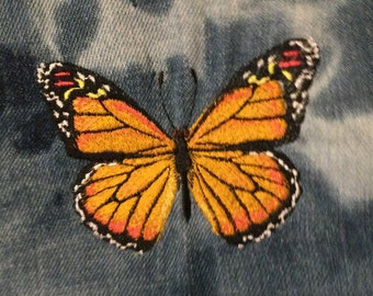 Monarch BUTTERFLY SOULE PATCH - Nature Embroidered hand bleached Denim pocket patch 4.5 X 5