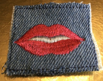 Hot Red Lips LIPS SOULE PATCH denim patch 1.5 X 1.5 embroidered