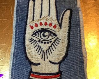 SOULE PATCH Hand of God Indigo DENIM Handmade Patch Embroidered Positive Symbol Hamsa 6 X 3