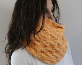 KNITTING PATTERN- Reversible Cable Cowl knitting pattern PDF