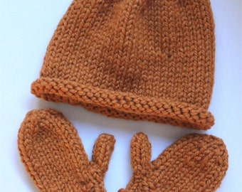 KNITTING PATTERN- Beanie Hat and Mitten Set (baby, toddler, child and adult sizes) PDF pattern
