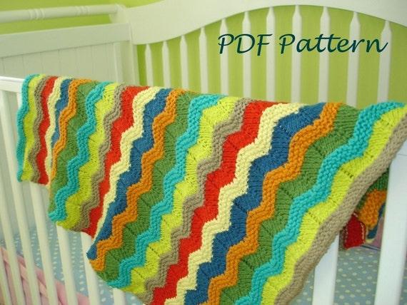 Baby Blanket Knitting Pattern Wavy Baby Blanket Pdf Knitting Etsy