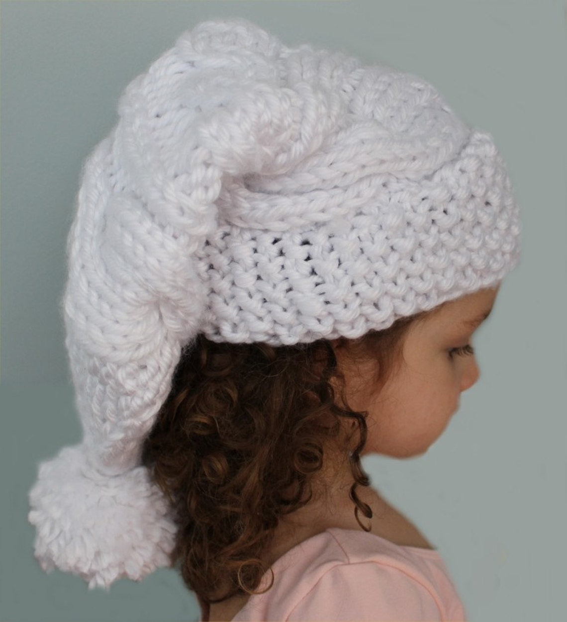 KNITTING PATTERN Cable Knit Stocking Hat child adult sizes  9e36a7c136d