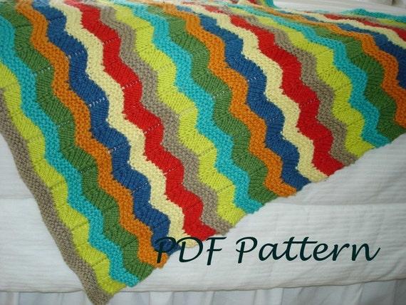 Baby Knitting Pattern Wavy Baby Blanket Pdf Knitting Pattern Etsy