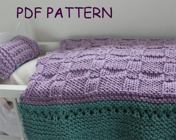 Knitting Pattern Baby Doll Blanket And Pillow Set Baby Doll Etsy