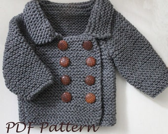 KNITTING PATTERN- The Lucas Cardigan/ Jacket (sizes 3-6, 6-12 months, 1-2, 3-4, 5-6 years)