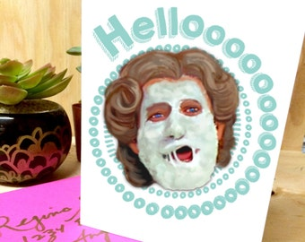 Mrs. Doubtfire Robin Williams Hello Greeting Card - birthday, special occasion blank card