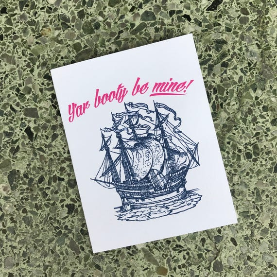 """Pirate Greeting Card """"Y'ar Booty Be Mine"""" Humor Funny Gift Dirty Pirate"""