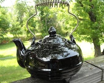 Antique Black Ceramic Teapot with Metal Coil Handle