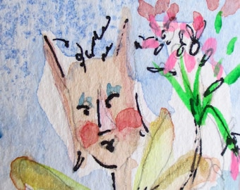 Fairy with pink flowers aceo,artist trading card original miniature collectible watercolor painting Art by Delilah