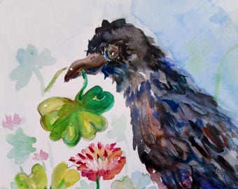 Shamrock crow Irish bird 12x9 original watercolor painting Art by Delilah