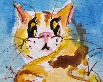 Yellow Cat aceo artist trading card miniature watercolor painting Art by Delilah