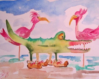 Alligator ad flamingos whimsical watercolor painting Art by Delilah